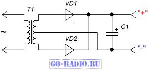 Схема подключения выпрямителя к трансформатору5